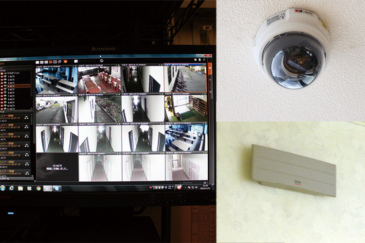 監視カメラ設置で寮のセキュリティも万全です